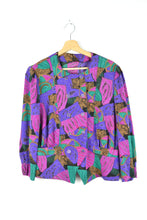 Load image into Gallery viewer, 80s Crazy Prints Blouse Purple/Fuschia Medium M