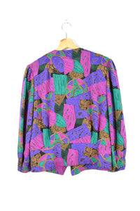80s Crazy Prints Blouse Purple/Fuschia Medium M