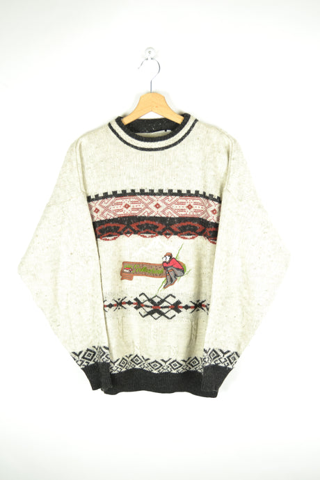 Vintage 90s - Fisher Man Theme Sweater - Size M/L