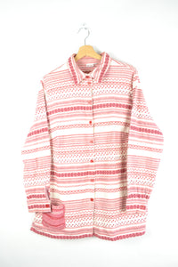 Red/White abstract Pattern Flannel Shirt M