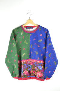 90s Cute Colorful Baroque Crewneck Medium M