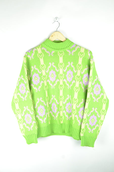 70s Neon Green Sweater Medium M