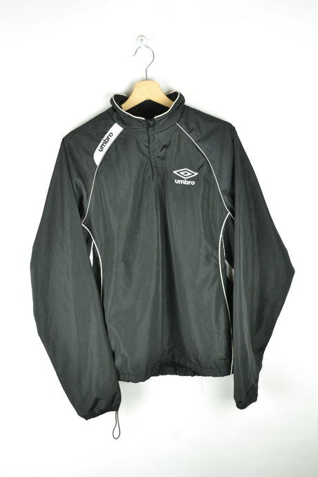 Vintage 90s - Umbro Black Half Zip Windbreaker - Size S