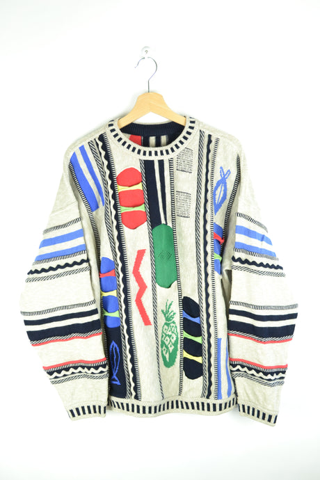 80s Colorful Carlo Colucci Sweater Oversized XL