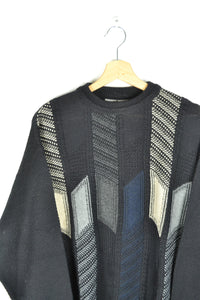 Classic Vintage Sweater Black/Blue/Beige Large L