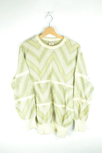 80s Abstract Patterned Sweater Green/Yellow/Beige Medium M