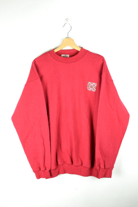 90s Plain Red Sport Crewneck Large L