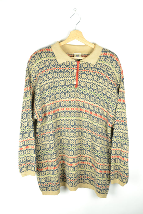 80s Patterned Collared Sweater Large L XL
