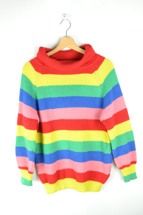 Colorful High Neck Chunky Sweater Medium M
