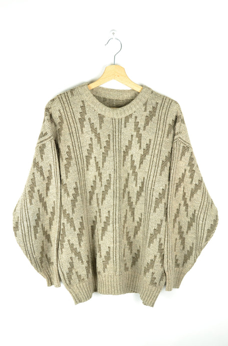 70s 80s Patterned Brown Sweater L XL