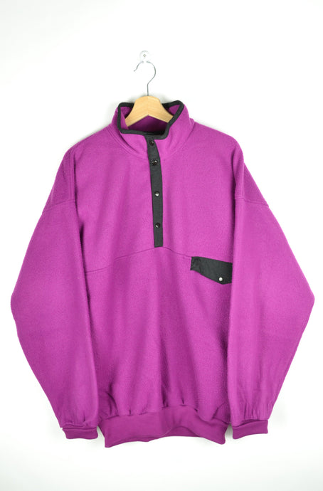 80s Neon Pink/Purple Half Zip Fleece Sweater Large L