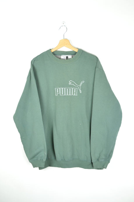 90s Puma Green Sweatshirt Large L