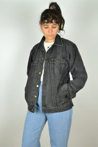 90s Y2K Black Denim Jacket Medium M