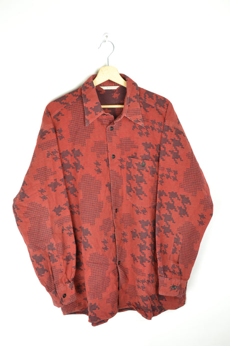 Vintage 80s - Red Patterned Flannel Shirt - Size XL