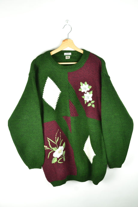 Vintage Patterned Green Sweater L XL