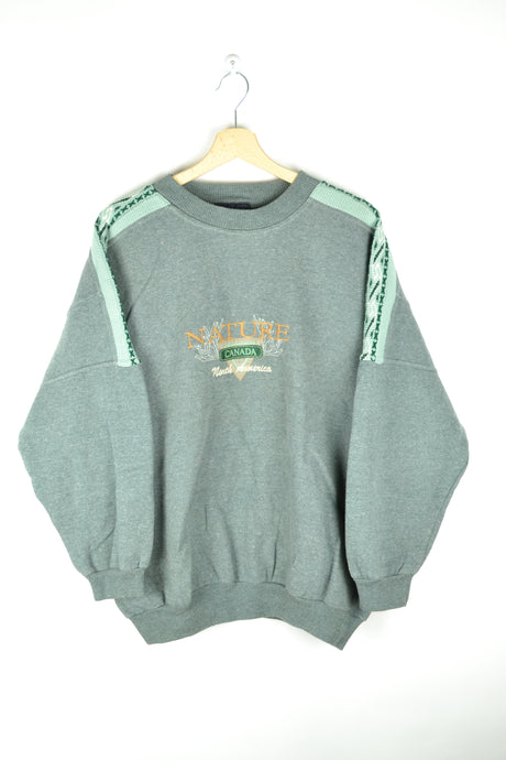 Vintage 80s - Beautiful Pastel Green Sweatshirt - Size L/XL