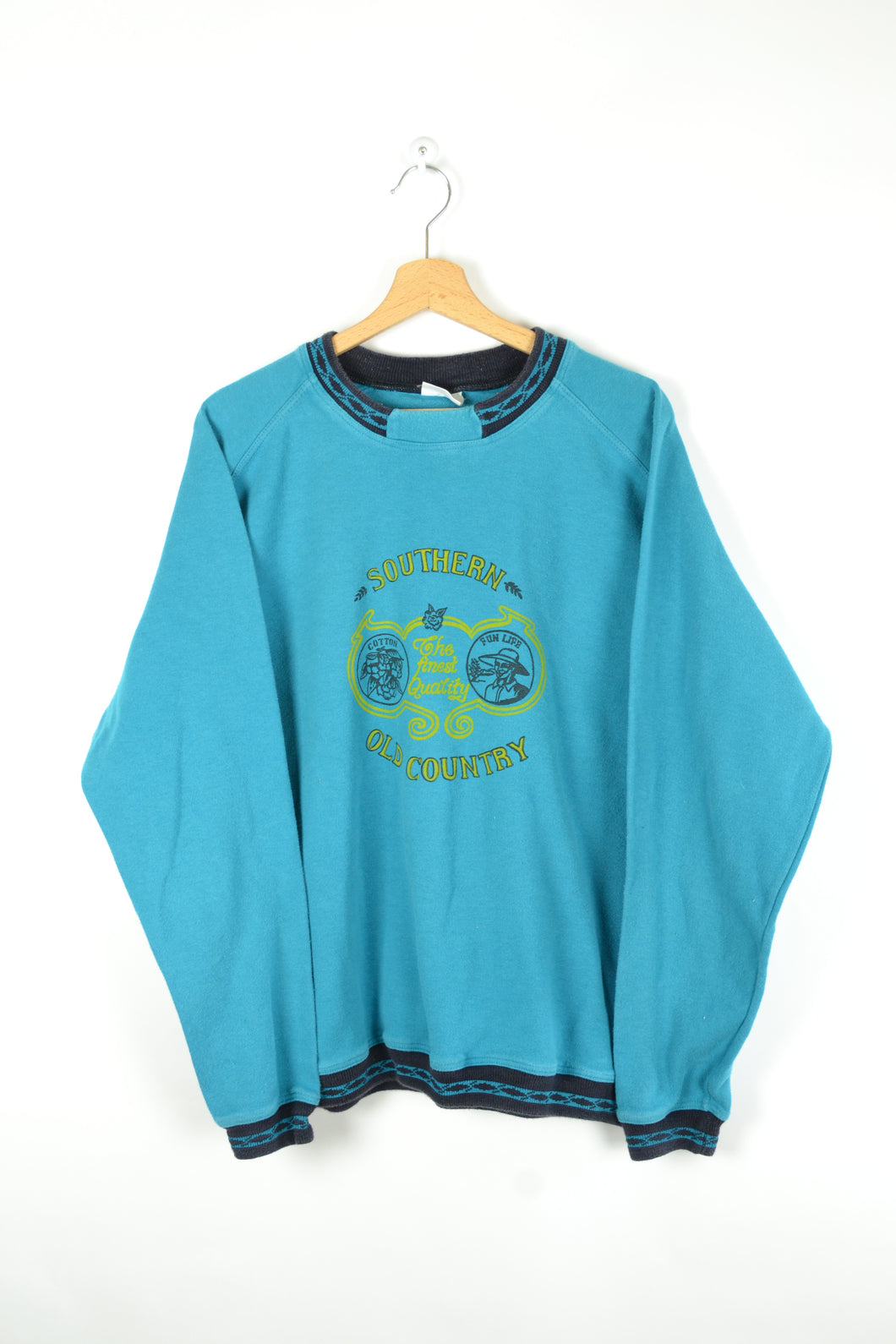 80s Turquoise Blue Crewneck USA Large L