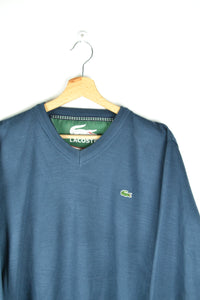 Lacoste V-Collared Blue Sweater Large L XL