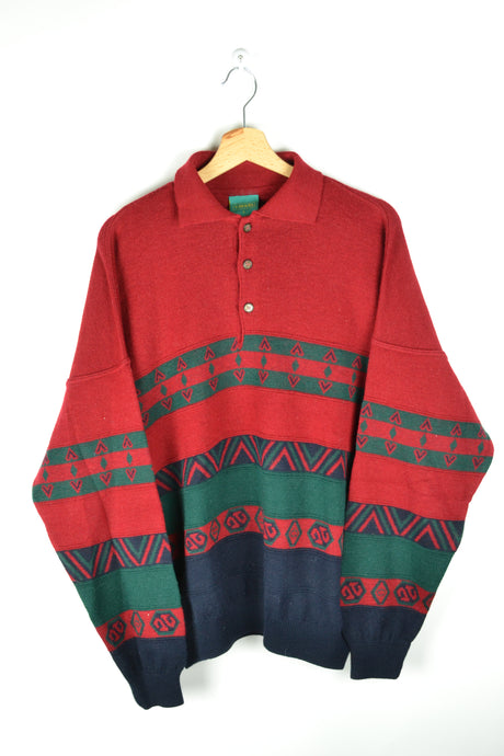 Half zip Sweater Red Green Blue Large L