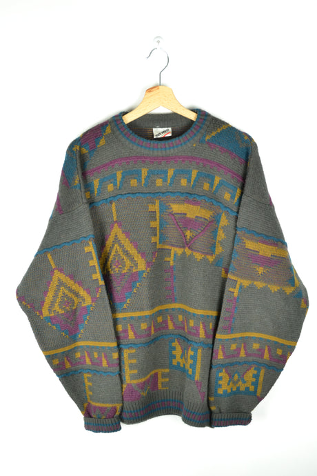 80s abstract Patterned Sweater Large L