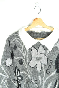 70s Cute Grey/Black/White Collared Patterned Sweater Large L