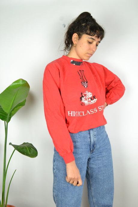 80s Red High neck collar Sweatshirt Medium M