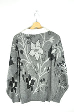 Load image into Gallery viewer, 70s Cute Grey/Black/White Collared Patterned Sweater Large L