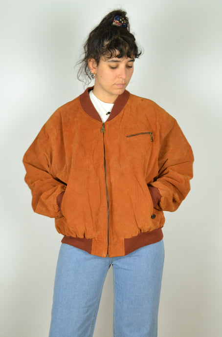Brown Orange Zipped Suede Jacket Large L