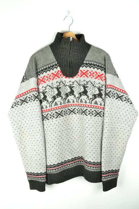Vintage 80s - Half Zip Winter Sweater - Size L