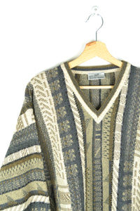 Vintage 70s - Patterned Monte-Carlo Sweater - Size L/XL