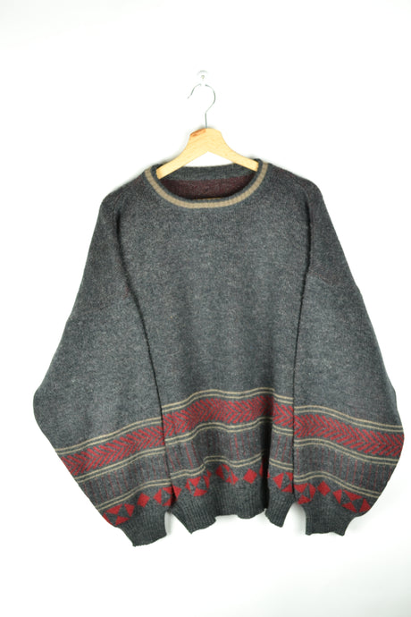 90s Oversized Grey Red Sweater Large L XL