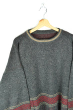 Load image into Gallery viewer, 90s Oversized Grey Red Sweater Large L XL