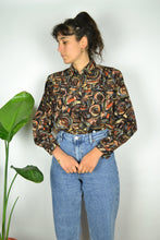 Load image into Gallery viewer, 70s Printed Women Blouse Long sleeved Medium M