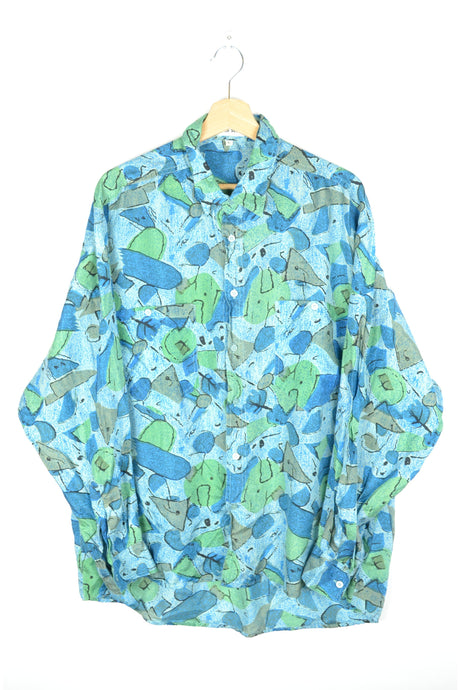Turquoise Blue Silk Printed Shirt Unisex L XL