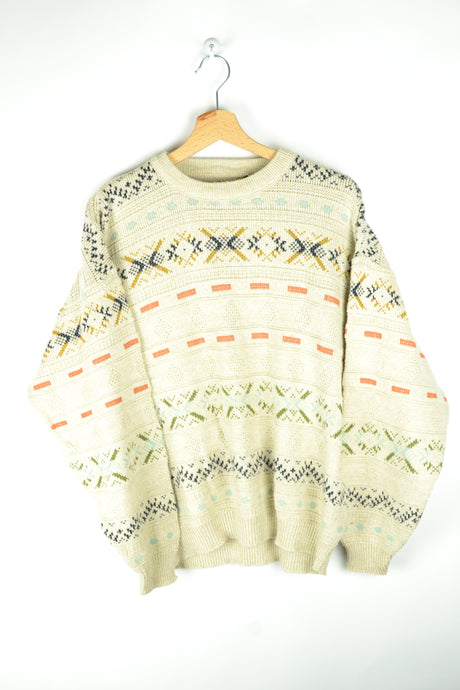 Cute 90s Sweater Beige and Patterns Medium M