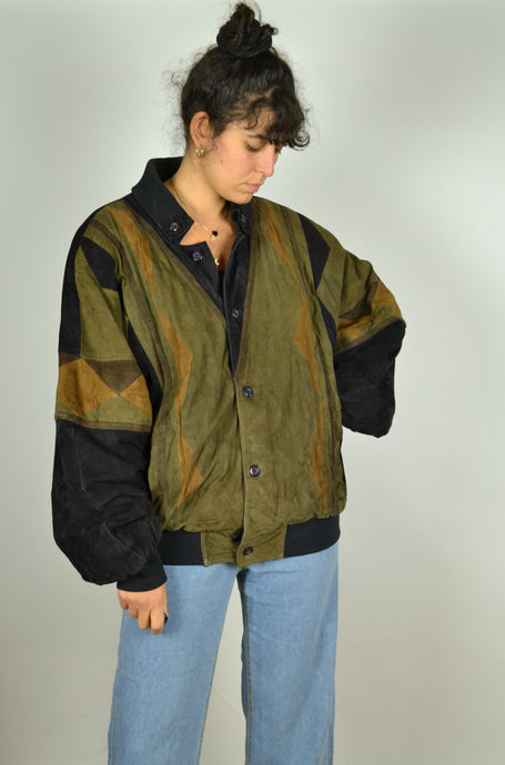 80s Patterned suede jacket XL