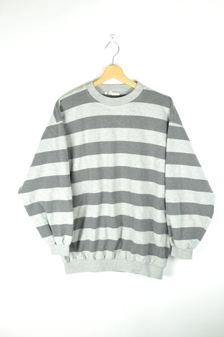 Vintage 80s - Striped Grey Sweatshirt - Size L