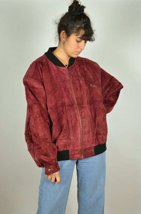 Red suede Bomber jacket Large L