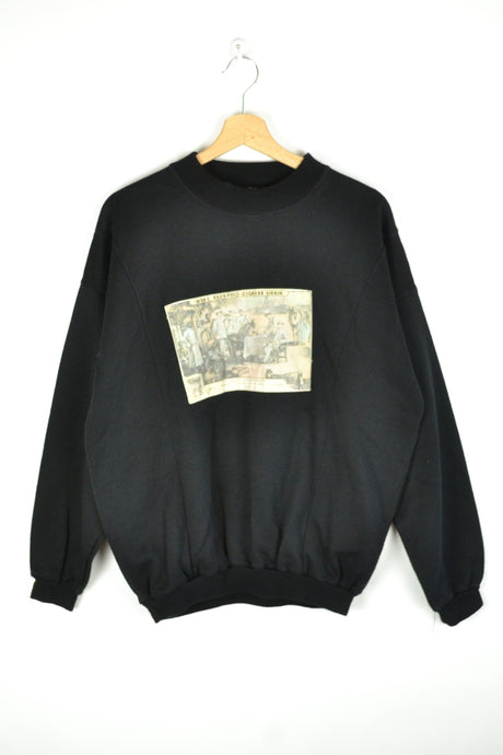 Vintage 80s - Black sweatshirt with Painting - Size L