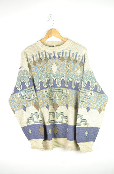 Vintage 80s/90s - Patterned Pastel Sweater - Size XL