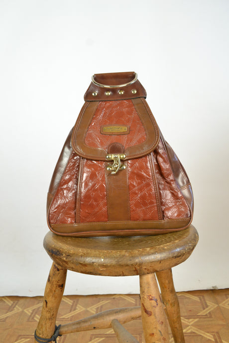 Triangle Shaped Leather Backpack
