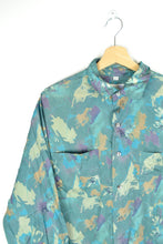Load image into Gallery viewer, Blue Printed Silk Men Unisex Shirt Large L