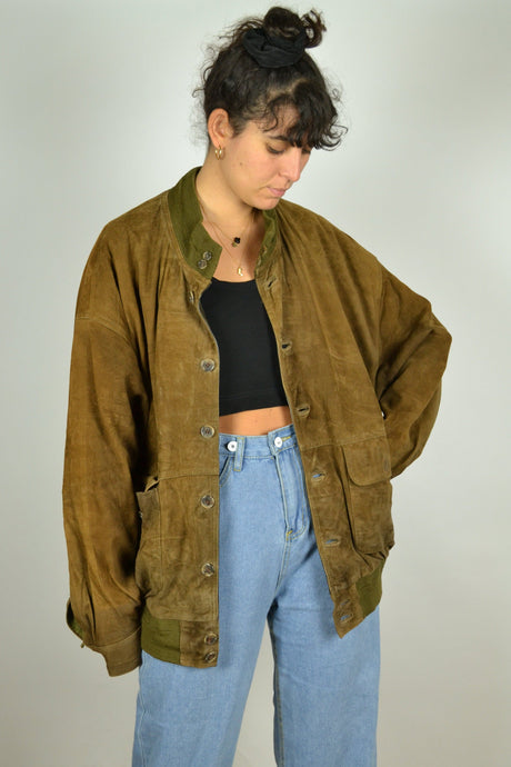 Brown Suede Bomber Jacket XL