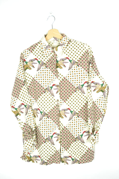 70s Duck Printed Long Sleeves Men Shirt M