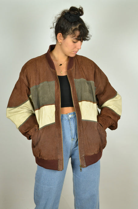 Leather and Linen 80s Jacket Oversized XL