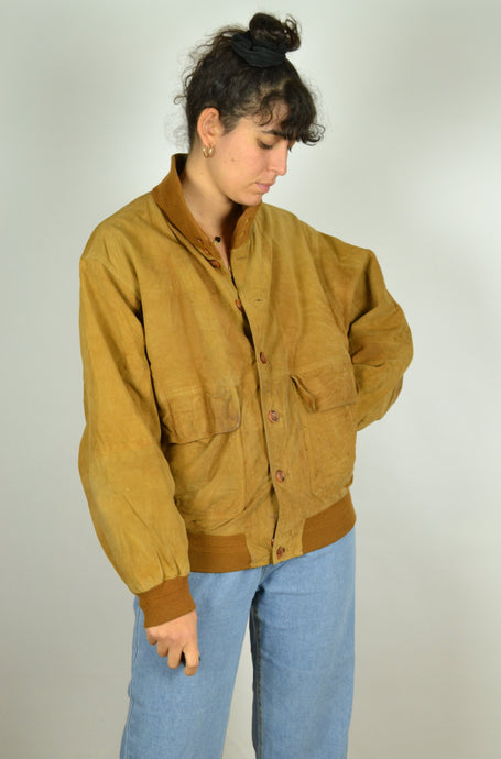 80s Brown Suede Bomber Jacket Small S M