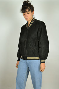 Black Suede Bomber Jacket Small S M