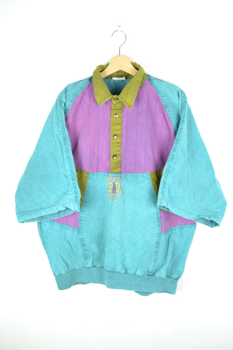 80s Turquoise Polo shirt XL
