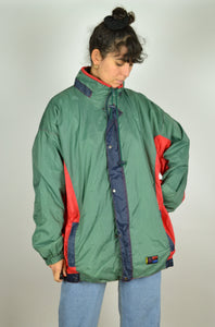 80s Color block rain jacket Oversized XL XXL