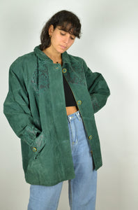 Women Green Suede Jacket Large L